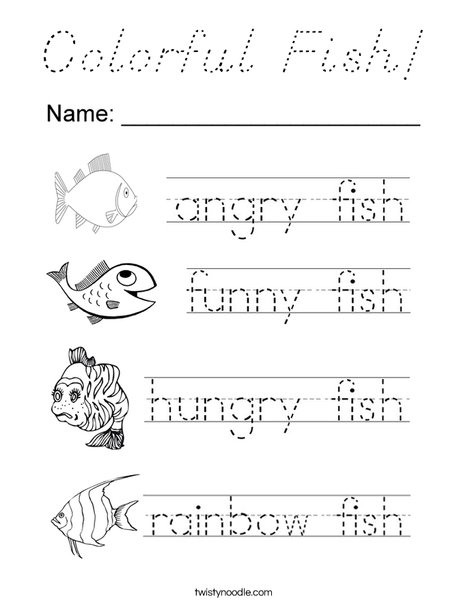 Colorful Fish Tracing Coloring Page