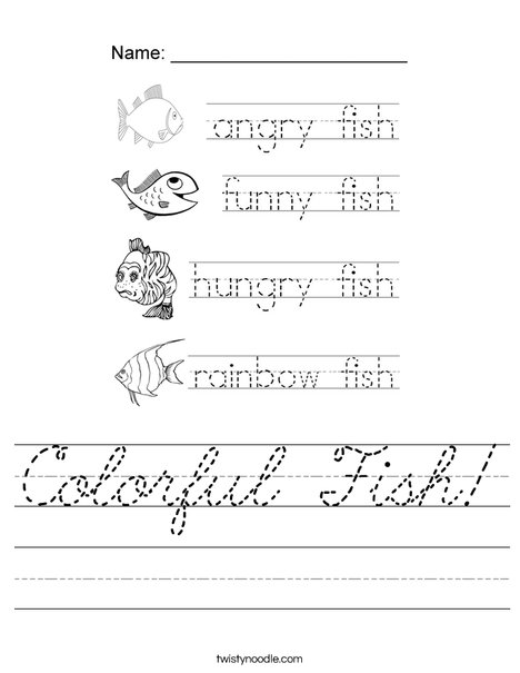 Colorful Fish Tracing Worksheet