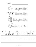Colorful Fish Handwriting Sheet