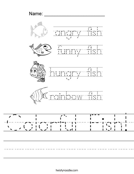 Colorful Fish Tracing Worksheet