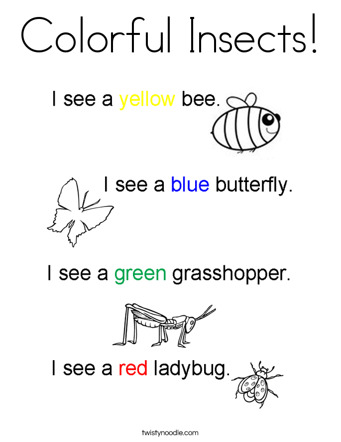 Colorful Insects! Coloring Page