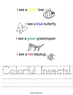 Colorful Insects Handwriting Sheet
