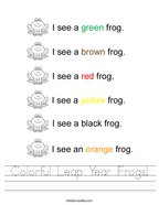 Colorful Leap Year Frogs Handwriting Sheet