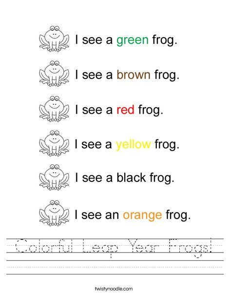Colorful Leap Year Frogs Worksheet