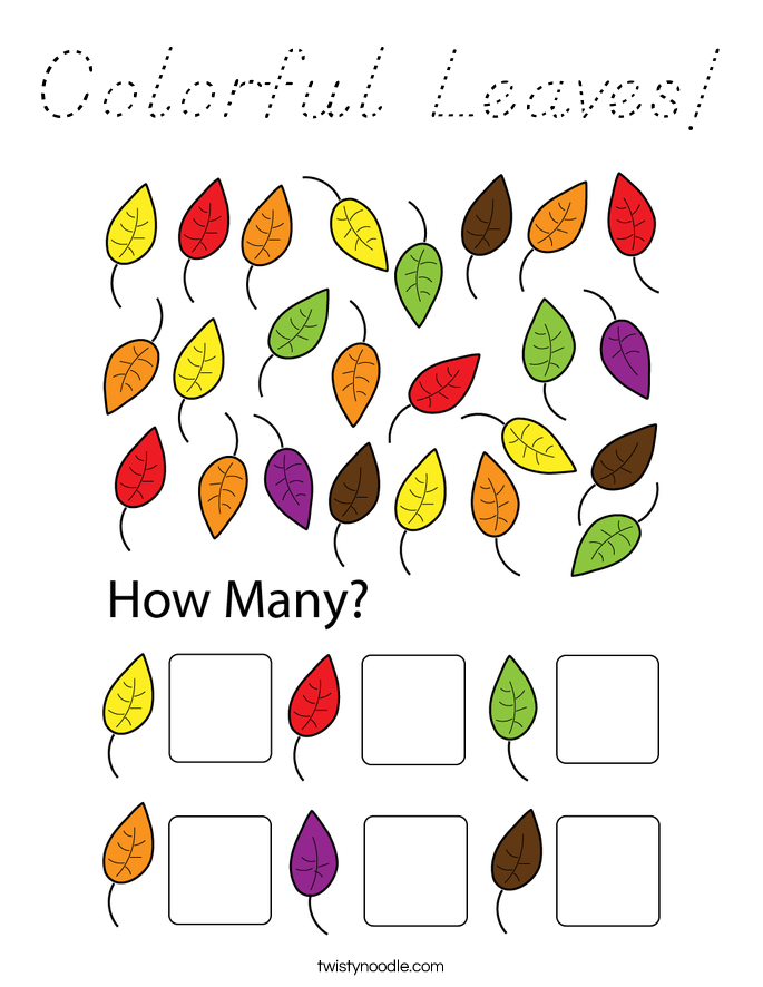Colorful Leaves! Coloring Page