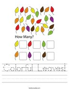 Colorful Leaves Handwriting Sheet
