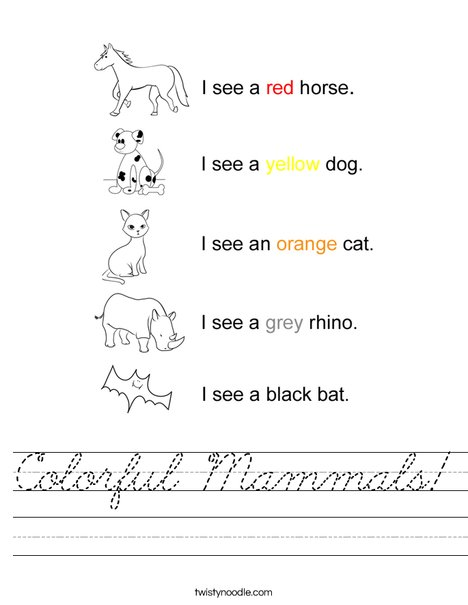 Colorful Mammals! Worksheet