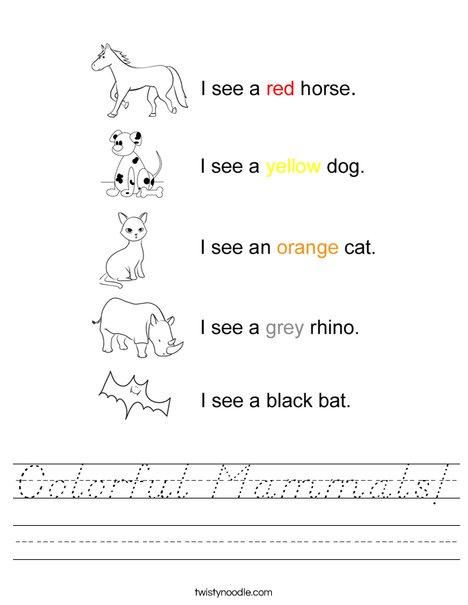 Colorful Mammals! Worksheet