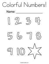 Colorful Numbers! Coloring Page