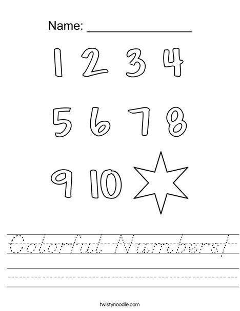 Colorful Numbers! Worksheet