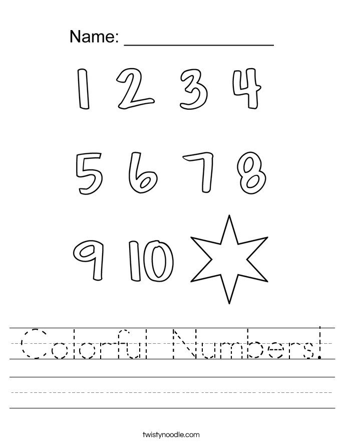 Colorful Numbers Worksheet - Twisty Noodle