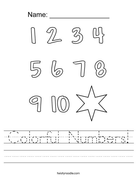 Colorful Numbers! Worksheet