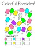Colorful Popsicles! Coloring Page