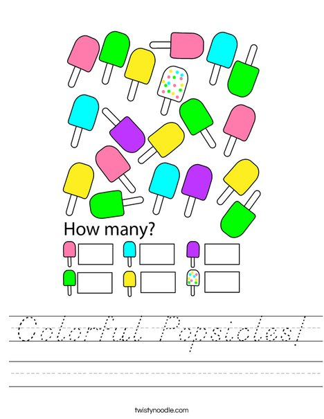 Colorful Popsicles! Worksheet