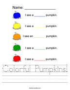 Colorful Pumpkins Handwriting Sheet