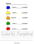 Colorful Pumpkins Handwriting Sheet