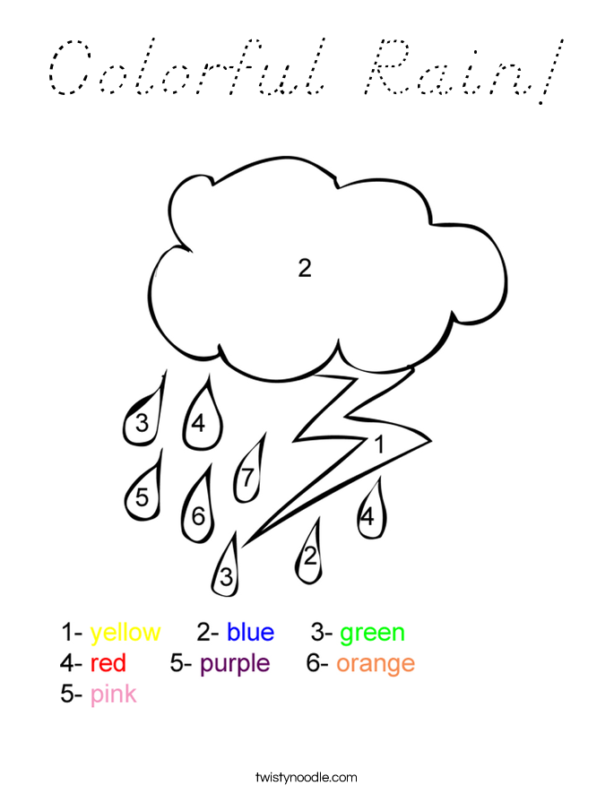 Colorful Rain! Coloring Page