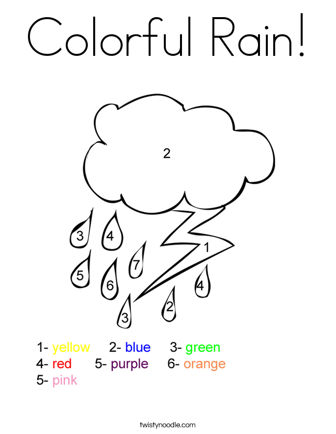 Colorful Rain Coloring Page Twisty Noodle