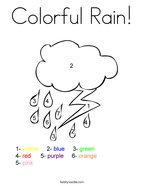 Colorful Rain Coloring Page