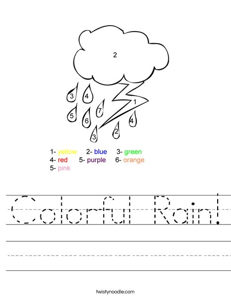 Colorful Rain Worksheet