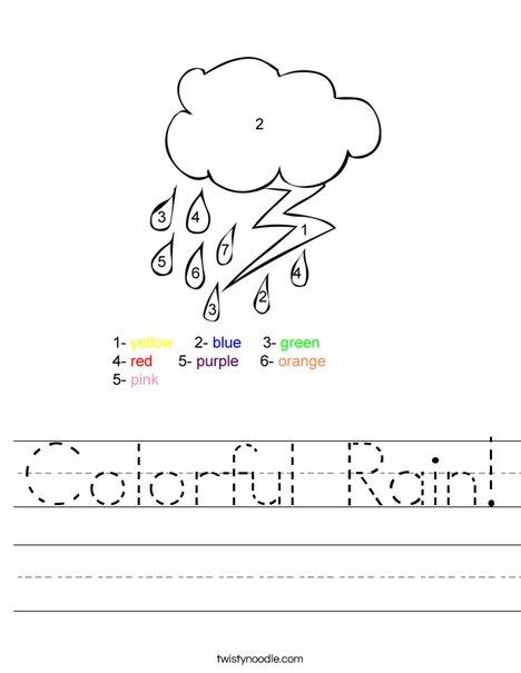 Colorful Rain Worksheet