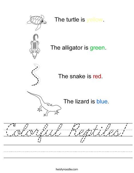 Colorful Reptiles Worksheet
