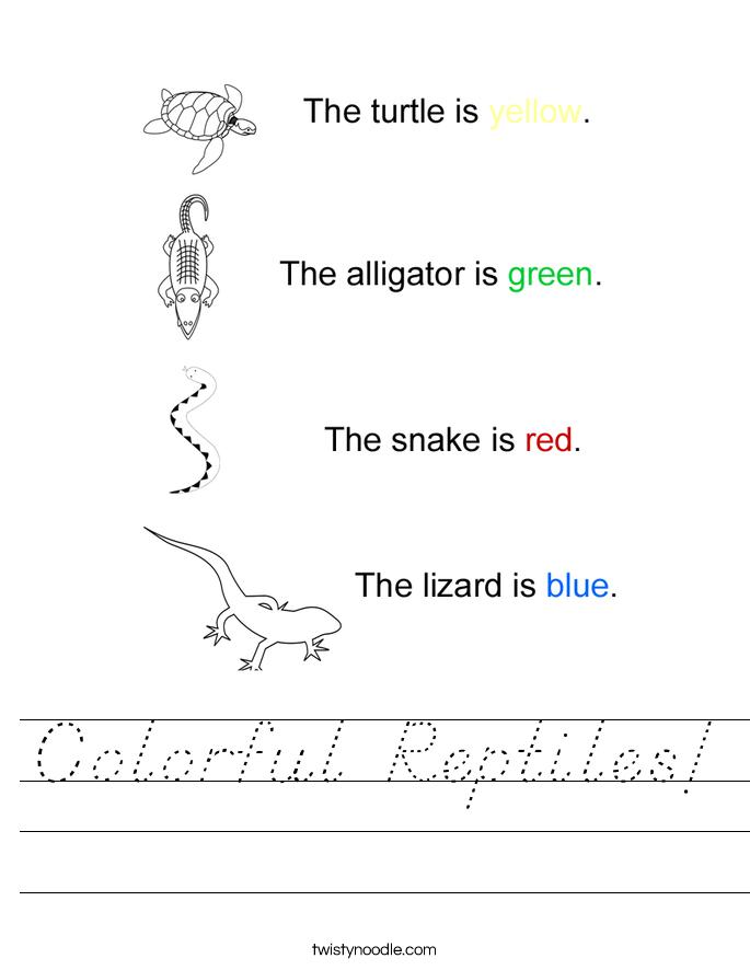Colorful Reptiles! Worksheet