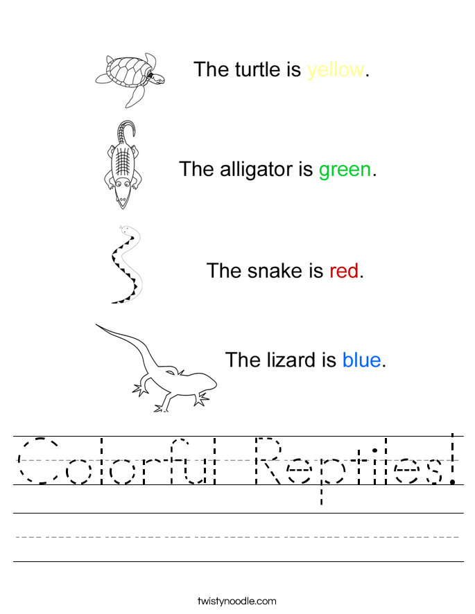 Colorful Reptiles! Worksheet