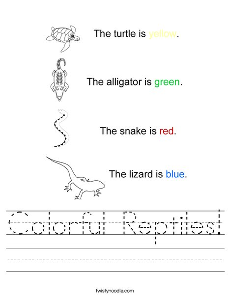 Colorful Reptiles Worksheet - Twisty Noodle
