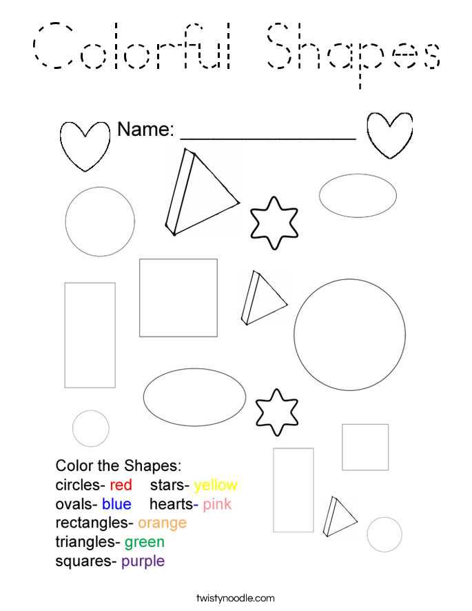 Colorful Shapes Coloring Page - Tracing - Twisty Noodle