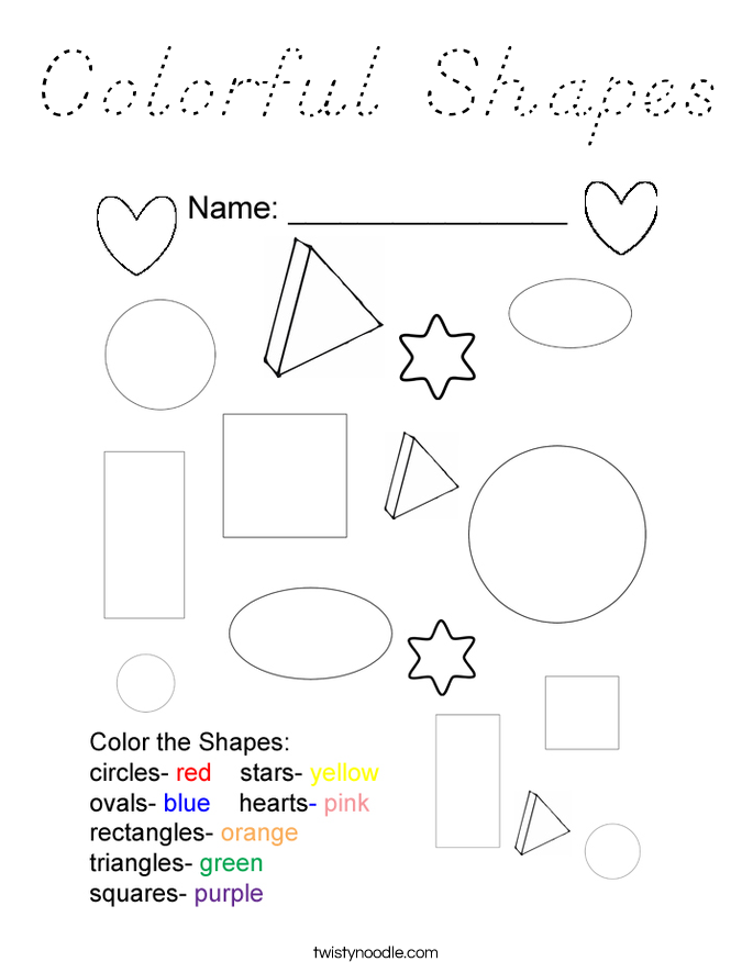 Colorful Shapes Coloring Page