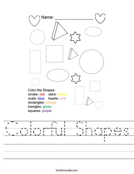 Colorful Shapes Worksheet