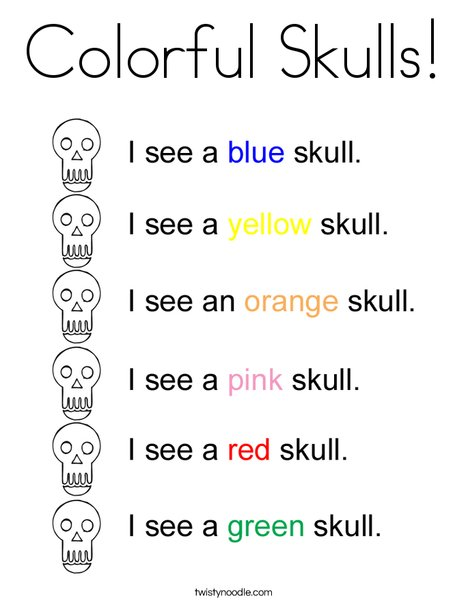 Colorful Skulls Coloring Page