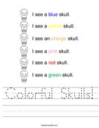 Colorful Skulls Handwriting Sheet