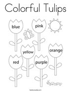 Colorful Tulips Coloring Page