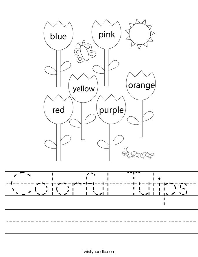 Colorful Tulips Worksheet