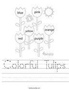Colorful Tulips Handwriting Sheet