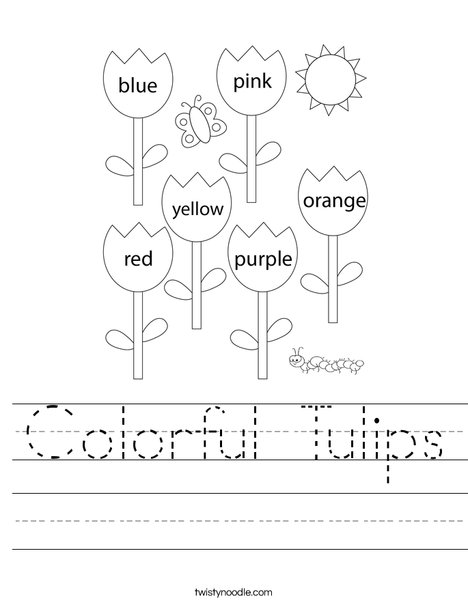 Colorful Tulips Worksheet
