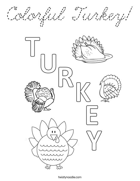 Colorful Turkey Coloring Page