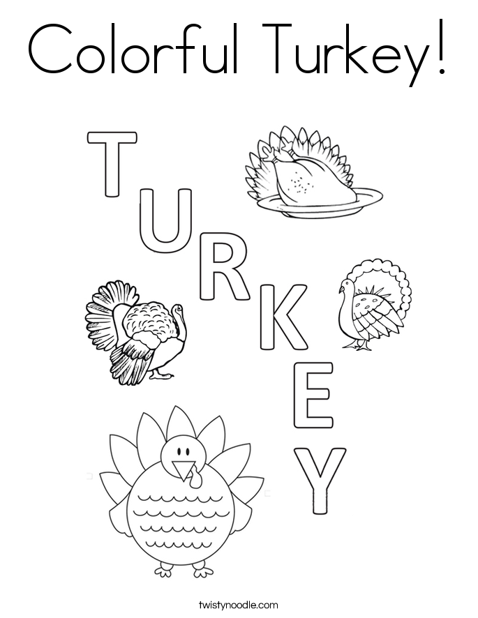 Colorful Turkey! Coloring Page