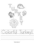 Colorful Turkey Handwriting Sheet