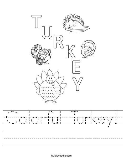 Colorful Turkey Worksheet