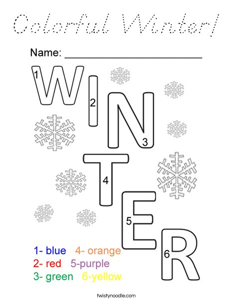 Colorful Winter! Coloring Page