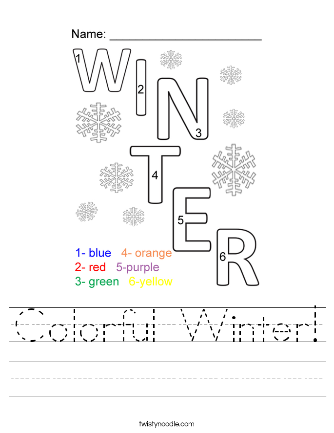 Colorful Winter! Worksheet