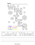 Colorful Winter Handwriting Sheet