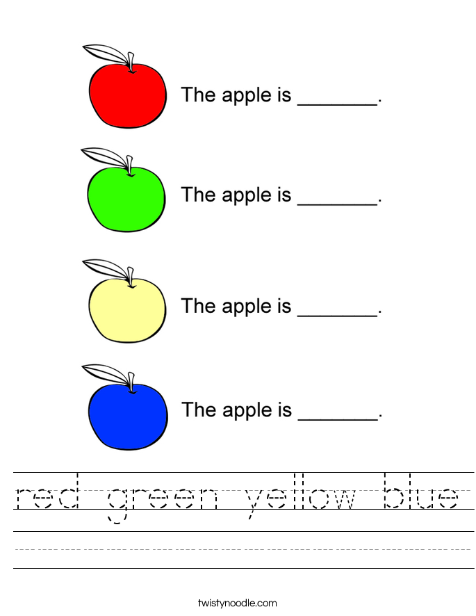 red green yellow blue Worksheet