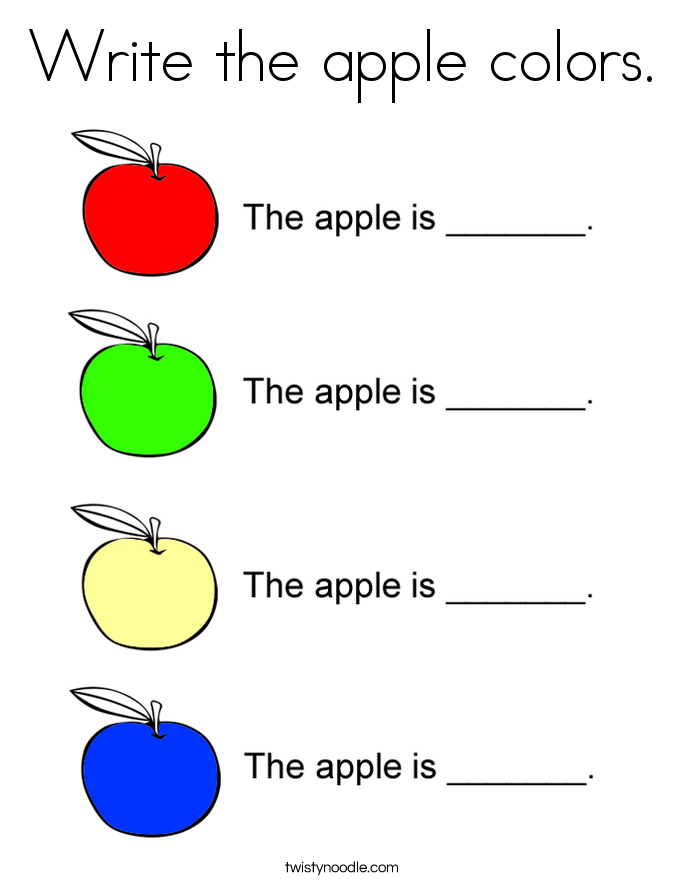 Write the apple colors. Coloring Page