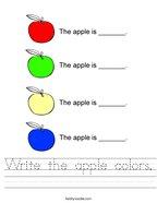 Write the apple colors Handwriting Sheet