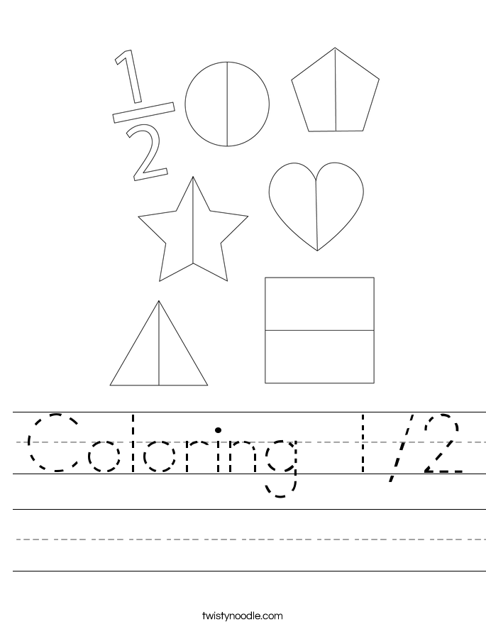 Coloring 1/2 Worksheet
