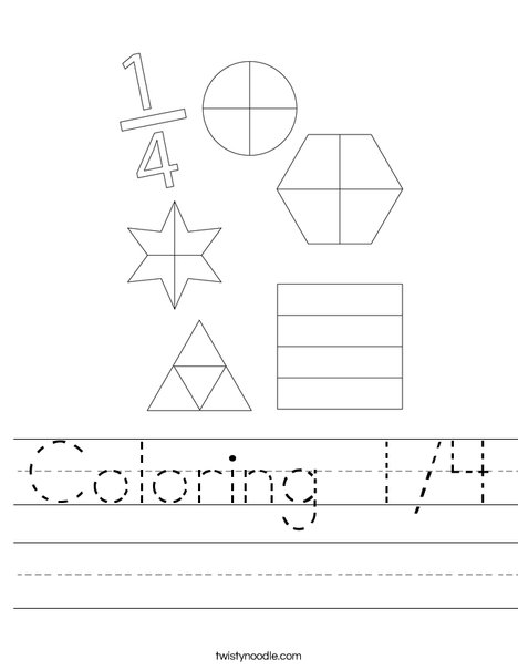 Coloring 1/4 Worksheet